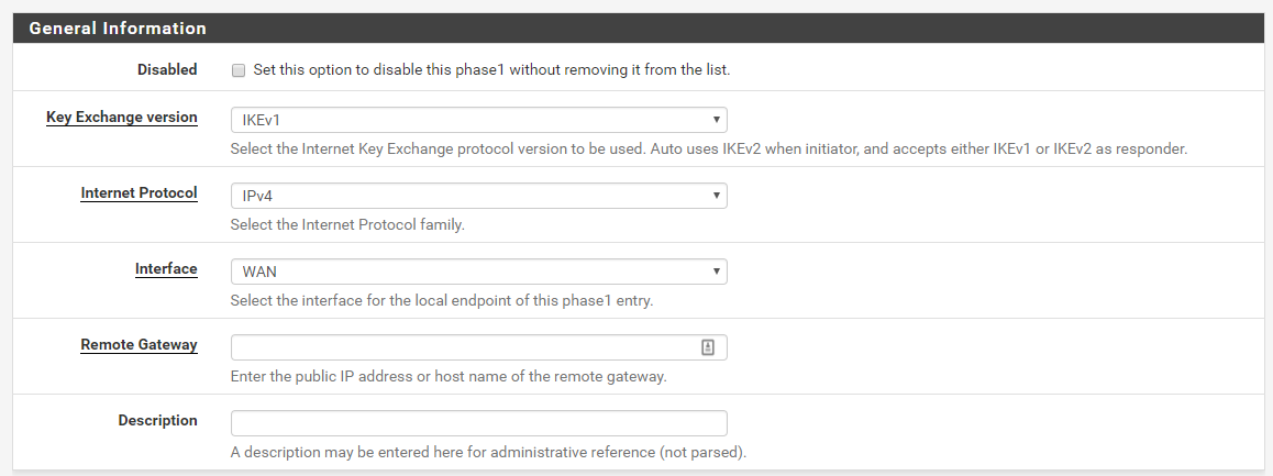 PFSense IPSec VPN connection to AWS