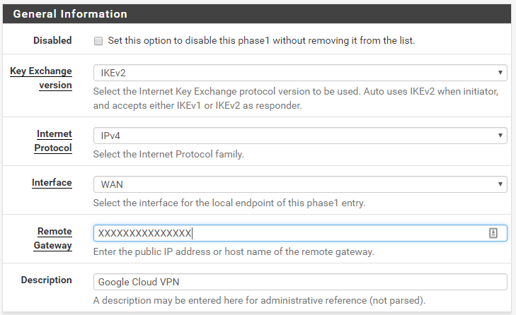 PFSense IPSec VPN connection to GCP